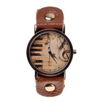 ZLYC Women Vintage Music Piano Brown Handmade Leather Strap Round Dial Wrist Watch Brown