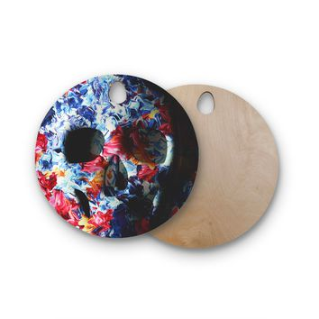 "Danny Ivan ""Skull Light"" Blue Pink Round Wooden Cutting Board"