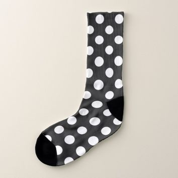 Black and White Polka Dot Pattern Socks