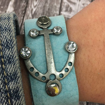 Leather, Bracelet, Gift, Blue, Cuff, Crystal, Silver, Ocean, Nautical, Anchor, Sailor, Boat, Boho, Bohemian, Gypsy, Hippie, Statement, Chic