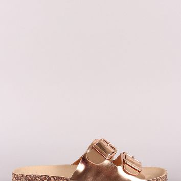 Metallic Patent Double Buckled Cork Footbed Slide Sandal