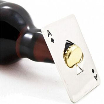 Poker Playing Card Ace of Spades Bottle Cap Opener