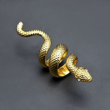 Punk Style Golden Scary Long Snake King RING Women Men Bling Gothic Animal Rings Hip Hop Crystal Eye Jewelry Male Gifts