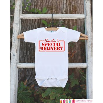 Santa's Special Delivery Outfit - Christmas Onepiece - Pregnancy Announcement - Baby Holiday Outfit - Newborn Christmas Gift for Boy or Girl