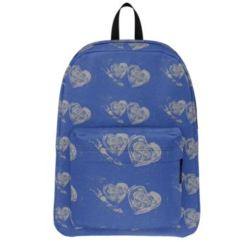 GFY Blue and Gray Hearts Backpack