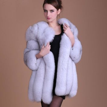 Faux Fur Coat Fox Hair Cape Jacket 2016 winter warm Fur Overcoat Imitation Fur With a Hood Luxury Fake Fur