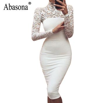 Abasona Women Lace Dress Autumn Winter Long Sleeve Evening Party Dresses Back Zipper Patchwork Crochet Ladies Bodycon Dress