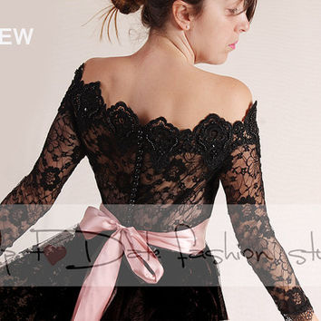 Black  Bridal lace bolero/Off-Shoulder /Lace wedding jacket/cover up