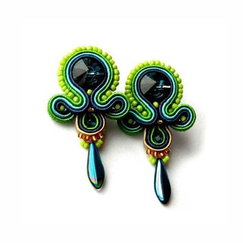 CHRISTMAS SALE 30%,  Soutache Earrings, Blue Green, OOAK Earrings, Handmade Jewelry, Swarovski Crystal, Rainbow Jewelry