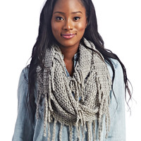 Knitted Fringe Infinity Scarf | Wet Seal