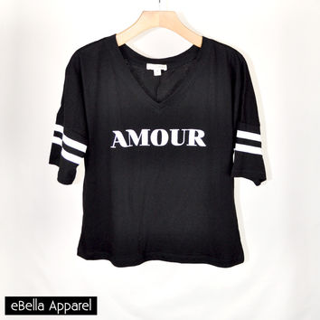 Amour - Womens Black Baseball 3/4 Sleeve, Graphic Print Baseball Top
