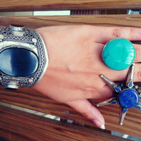 Turquoise jewelry- Turquoise ring- Afghan turquoise ring- Ethnic Stone rings.Bedouin Jewelry.Afghan Vintage Ring.Boho ring- Rustic ring