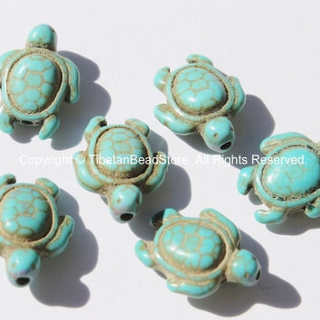 4 BEADS - Howlite Turquoise Carved Turtle Charm Beads - Tortoise Turtle Beads - Charms, Beads, Findings - Small Turtle Beads - B2742T-4
