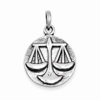 Sterling Silver Polished Antique Finish Libra Horoscope Pendant