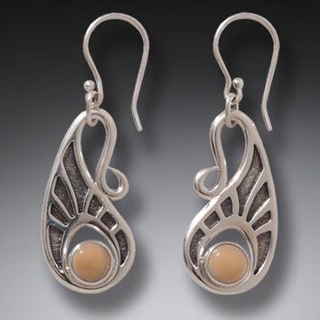 """Tribal Hook"" Ancient Fossilized Walrus Tusk Ivory Sterling Silver Earrings"