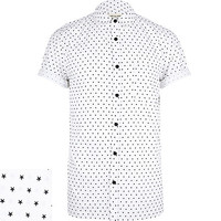 River Island MensWhite star print short sleeve shirt