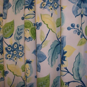 Shower Curtain/  Extra Wide or standard width & length also! Custom Bath / Alyssa Lagoon Floral / Yellow, blue, green