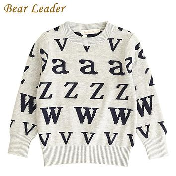 Boys Sweater New Letters Jacquard Long Sleeve Cotton Sweater For Children O-Neck Sweater