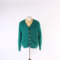 Vintage 60s MEN'S CARDIGAN / 1960s Shaggy TEAL Green Thick Mohair Wool Sweater M