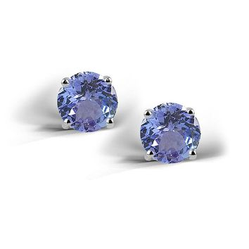 925 Silver 2ct Simulated Tanzanite Stud Earrings, 6mm
