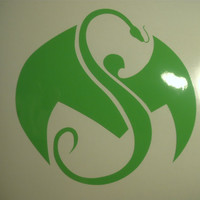Strange Music Logo Decal - Lime Green Gloss 5 inch Vinyl Decals - Set of 2
