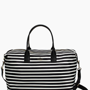 Kate Spade Classic Nylon Lyla Weekender Black/Clotted Cream ONE