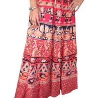 Womens Maxi Skirt Red Ethnic Printed Indie Designer Hippie Boho Beach Long Skirts: Amazon.com: Clothing