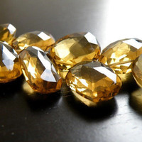 Beer Quartz Briolette Gemstone Faceted Teardrop Fancy Mango Leaf  14mm Set of 3 beads
