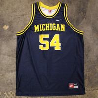 University Of Michigan Tractor Traylor #54 Nike Basketball Jersey Navy (2XL)