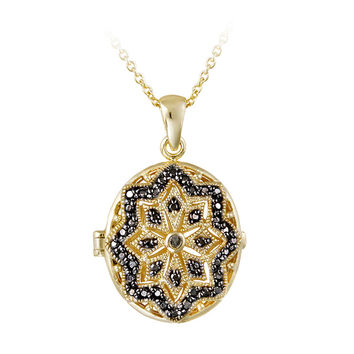 DB Designs Goldplated Black Diamond Accent Star Design Oval Locket Necklace | Overstock.com Shopping - The Best Deals on Diamond Necklaces