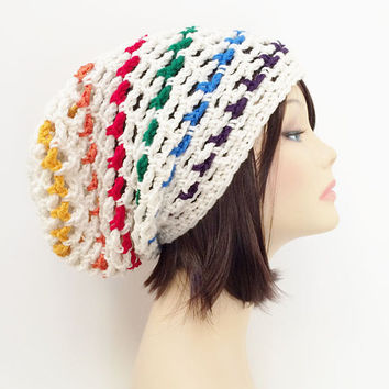 RESERVED for KATHRYN SNYDER - Crochet Burst Slouch Beanie Hat - White, Rainbow, Red, Orange, Yellow, Gold, Green, Blue, Purple