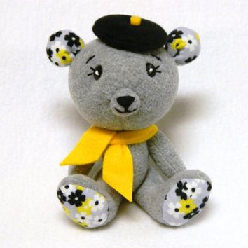 Beret bear plush toy with scarf and flower pattern ears