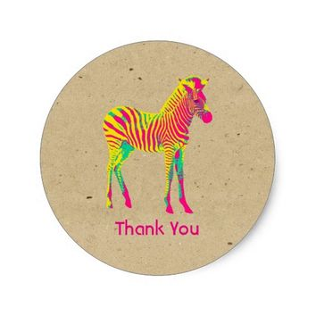 Neon Zebra Baby Animal Funky Retro Thank You Classic Round Sticker