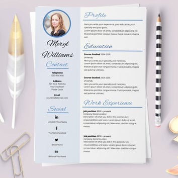 Elegant resume. Resume word template. Classic resume. Original cv. Elegant curriculum. CV template. Resume template. Resume with photo.