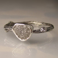 Raw Diamond Twig Ring in Recycled Sterling Silver  by artifactum
