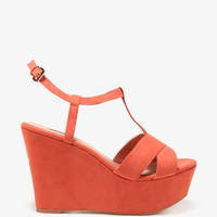 Classic T-Strap Wedge Sandals