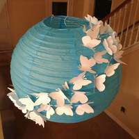 "14"" Blue Skies, paper lantern, butterfly birthday party, butterfly decor, butterfly lantern, hanging ceiling decor, butterfly hanging"