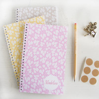 birch leaves personalized notebooks - choose your color - set of 3