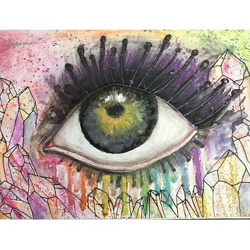 """Original 10x7 Watercolor """"The Window"""" Psychedelic Eye Painting"""