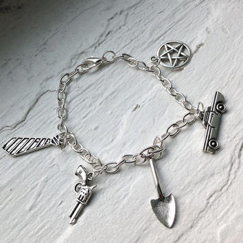 Supernatural Inspired Team Free Will Charm Bracelet - Winchesters and Castiel - The Road So Far - Dean and Sam- Nerd Jewelry and Geeky Gifts
