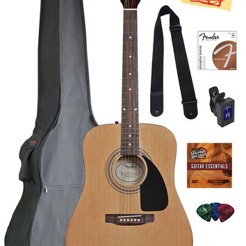 Fender Acoustic Guitar Bundle with Gig Bag Tuner Strings Strap Picks Austin Bazaar Instructional DVD and Polishing Cloth Fender