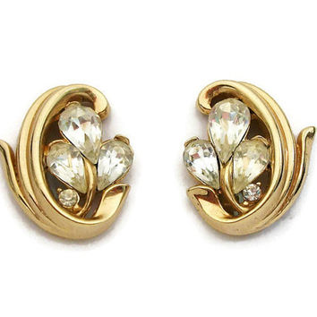 Signed Trifari Rhinestone Gold Tone Clip Earrings - Vintage Clip On Trifari - Teardrop Pear Clear Rhinestones - Wedding Earrings