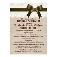 Ivory Lace & Chocolate Bow, Burlap Bridal Shower Personalized Invitations