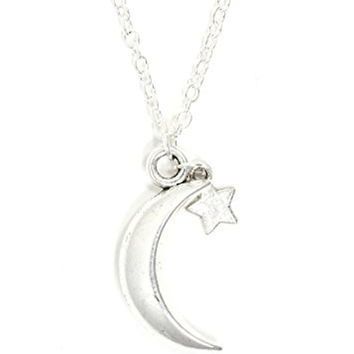 Crescent Moon and Star Necklace Vintage Silver Tone Lunar Pendant NQ53 Fashion Jewelry
