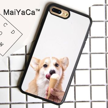 MaiYaCa Corgi Dog Cute Funny Puppy Print Soft Rubber Cover For iPhone 8 Plus Case For Apple iPhone 8plus Phone Cases Shell