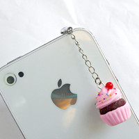 Kawaii Pink Cupcake Chocolate Cherry Charm Phone Charm, Dust Plug, or Cell Phone Strap, or Keychain