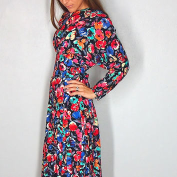 Vintage Colorful Floral Dress, Fall Floral, Small, XS extra small, Long Sleeve Dress, Midi Dress