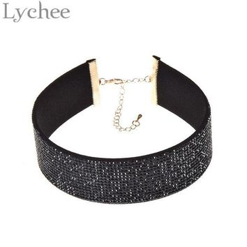 ac NOOW2 Lychee 1 piece Gothic Punk Multicolor Wide Leather Choker Necklace 90s Rhinestone Crystal Choker Collar Jewelry for Women