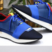BALENCIAGA Men Blue Race Runner sneakers