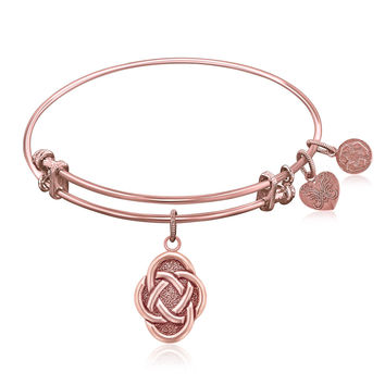 Expandable Bangle in Pink Tone Brass with Celtic Oval Symbol